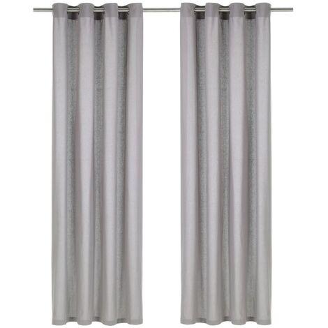 Cortinas con anillas de metal 2 uds algodón gris 140x245 cm