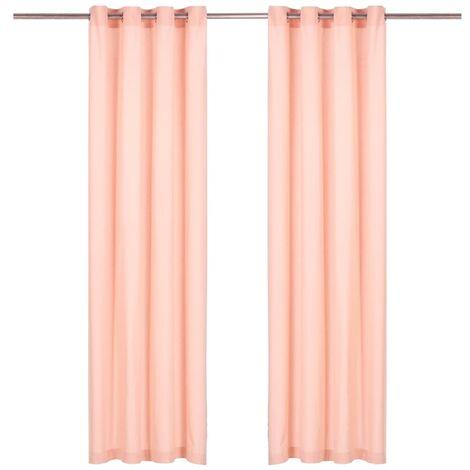 Cortinas con anillas de metal 2 uds algodón rosa 140x225 cm