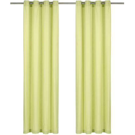 Cortinas con anillas de metal 2 uds algodón verde 140x245 cm