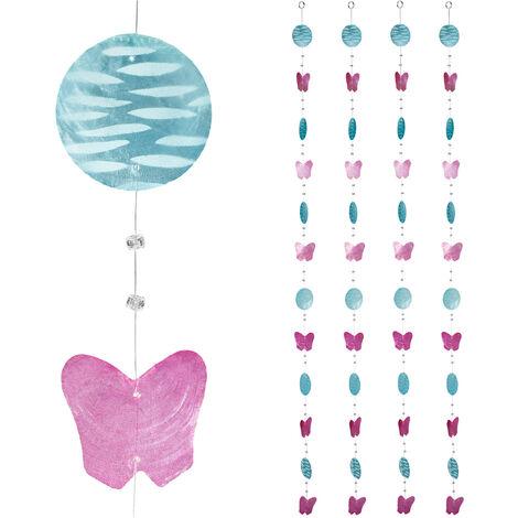 Cortinas con conchas, Ventana, Puerta & Balcón, Divisorias, 180 cm, 4 Uds, Cisnes, Mariposa, Rosa-Azul