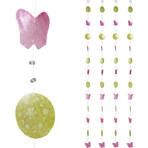 Cortinas con conchas, Ventana, Puerta & Balcón, Divisorias, 180 cm, 4 Uds, Cisnes, Mariposa, Rosa-Verde