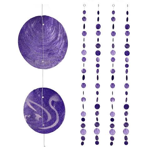Cortinas con conchas, Ventana, Puerta & Balcón, Divisorias, Tiras, 180 cm, 4 Uds, Cisnes, Morado