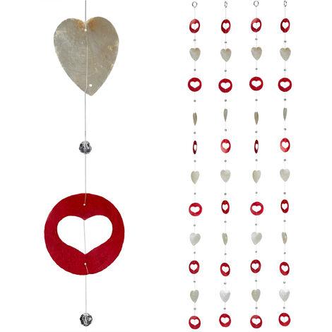 Cortinas con conchas, Ventana, Puerta & Balcón, Divisorias, Tiras, 180 cm, 4 Uds, Corazón, Blanco-Rojo