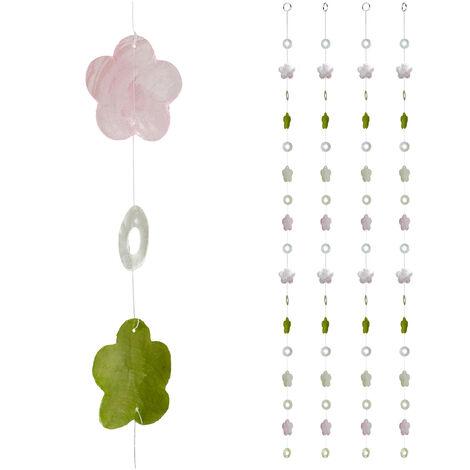 Cortinas con conchas, Ventana, Puerta & Balcón, Divisorias, Tiras, 180 cm, 4 Uds, Flor, Rosa-Verde