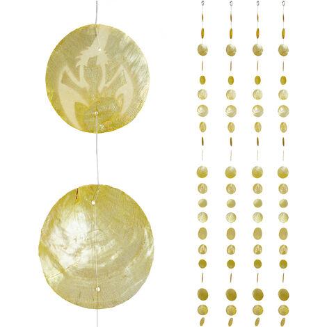 Cortinas con conchas, Ventana, Puerta & Balcón, Divisorias, Tiras, 180 cm, 4 Uds, Langosta, Amarillo