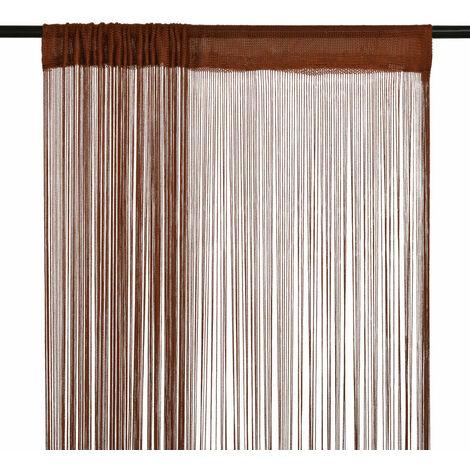 Cortinas de flecos 2 piezas 100x250 cm marrón