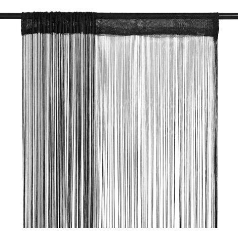 Cortinas de flecos 2 piezas 100x250 cm negras