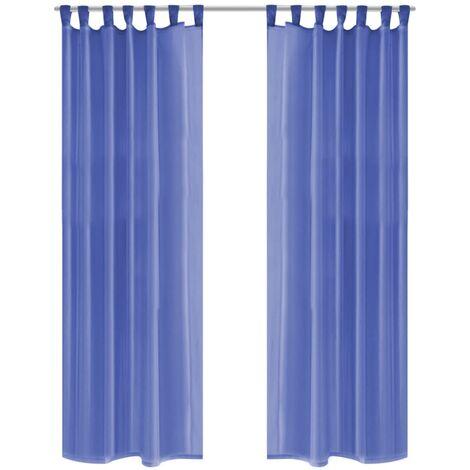 Cortinas de gasa 2 unidades 140x175 cm azul real