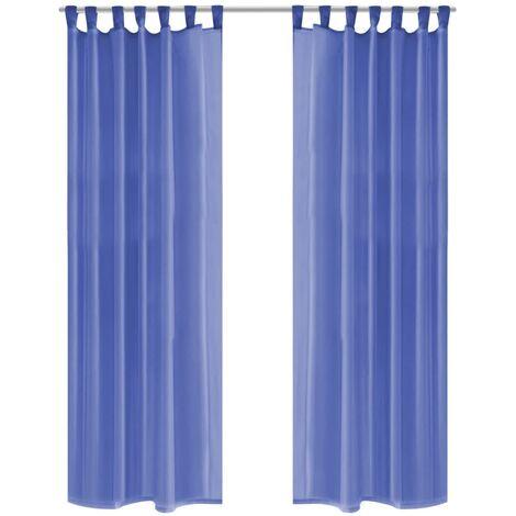 Cortinas de gasa 2 unidades 140x245 cm azul real