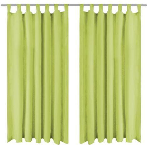 Cortinas de micro-raso con bucles 2 unidades 140x175cm verde