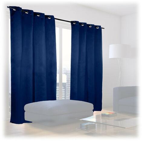 Cortinas Opacas con Ojales, Pack de 2, Modernas, Dormitorio o Salón, Poliéster, 245 x 135 cm, Azul Marino