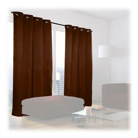 Cortinas Opacas con Ojales, Pack de 2, Modernas, Dormitorio o Salón, Poliéster, 245 x 135 cm, Marrón Chocolate