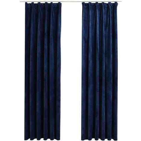 Cortinas opacas ganchos 2 pzas terciopelo azul oscuro 140x225cm