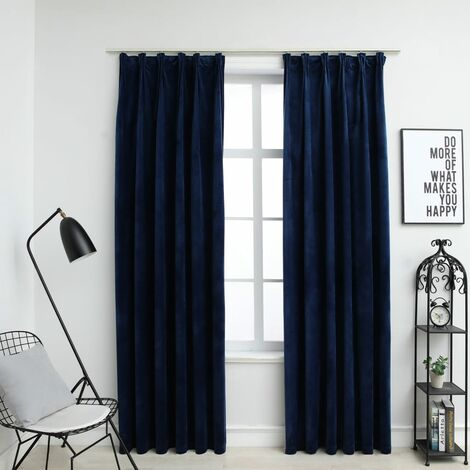 Cortinas opacas ganchos 2 pzas terciopelo azul oscuro 140x245cm