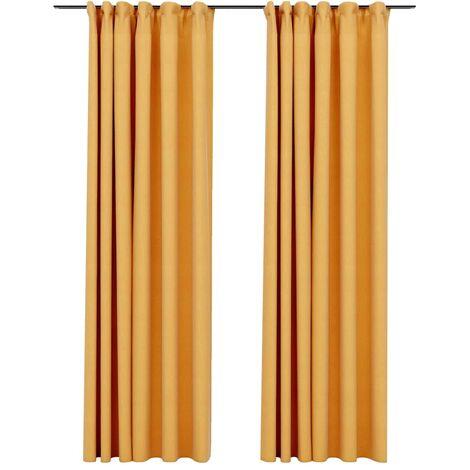 Cortinas opacas ganchos look de lino 2 pzas amarillo 140x245 cm