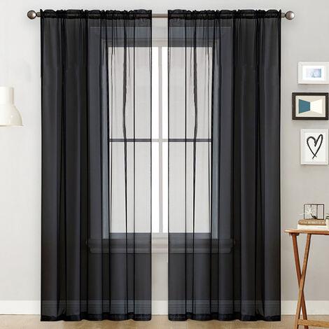 cortinas transparentes Salon de Rod cortina de la ventana Paneles cortinas del dormitorio semi-transparente Negro Velo (55''Wx102''L, 2 paneles)