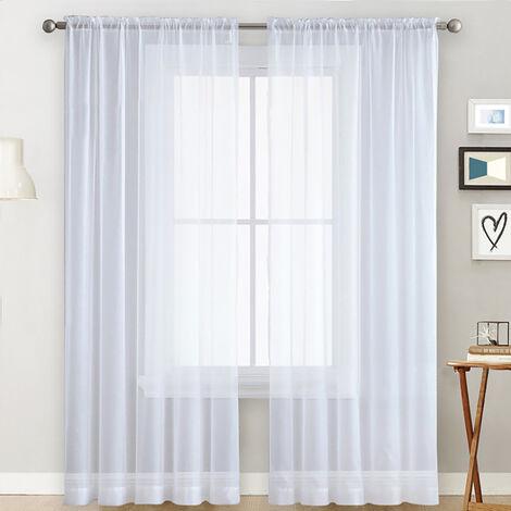 cortinas transparentes Salon Rod a partir de paneles de la cortina de la ventana cortinas semitransparentes Dormitorio Blanco Vela (55''Wx102''L, 2 paneles)