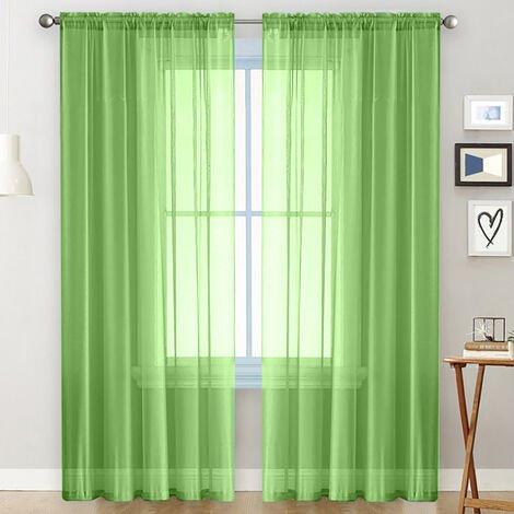 cortinas transparentes Salon Rod a partir de paneles de la cortina de la ventana semi-transparente Green Room cortinas de voile (55''Wx102''L, 2 paneles)