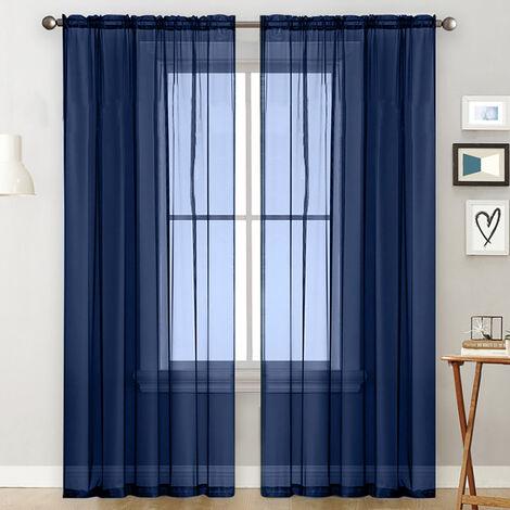 cortinas transparentes Salon Rod a partir de paneles de la cortina de la ventana semi-transparente habitacion cortinas azul oscuro velo (55''Wx84''L, 2 paneles)