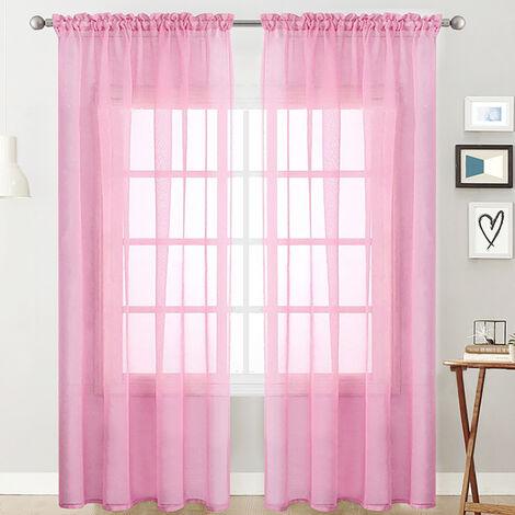 cortinas transparentes Salon Rod a partir de paneles de la cortina de la ventana semi-transparente Pink Room Cobertura Tabla (55''Wx84''L, 2 paneles)