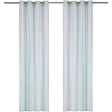 Cortinas y anillas de metal 2 pzs algodón azul rayas 140x245 cm