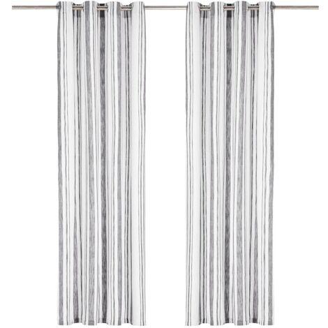 Cortinas y anillas metal 2 pzas algodón rayas gris 140x175 cm
