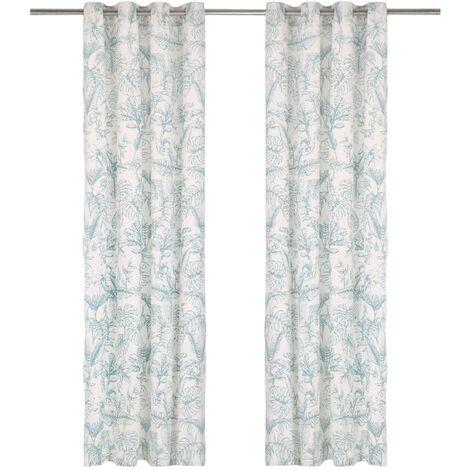 Cortinas y anillas metal 2 uds algodón flores verde 140x175 cm