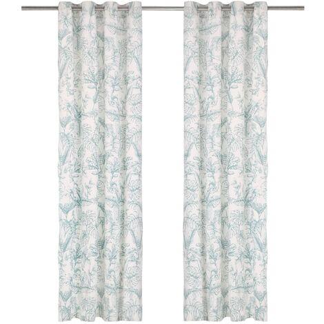 Cortinas y anillas metal 2 uds algodón flores verde 140x245 cm