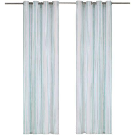 Cortinas y aros de metal 2 pzas algodón azul a rayas 140x225 cm
