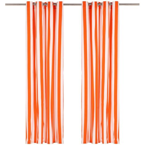 Cortinas y aros de metal 2 pzas tela naranja a rayas 140x175 cm