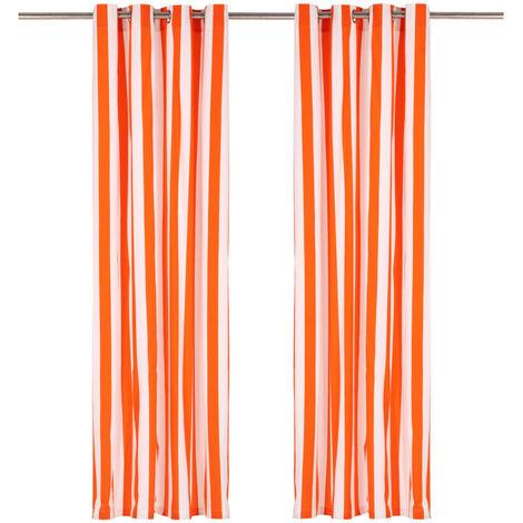 Cortinas y aros de metal 2 pzas tela naranja a rayas 140x225 cm