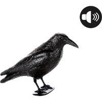 Corvo Dissuasore per Uccelli con Sensore di Movimento e Suono in Plastica Nero
