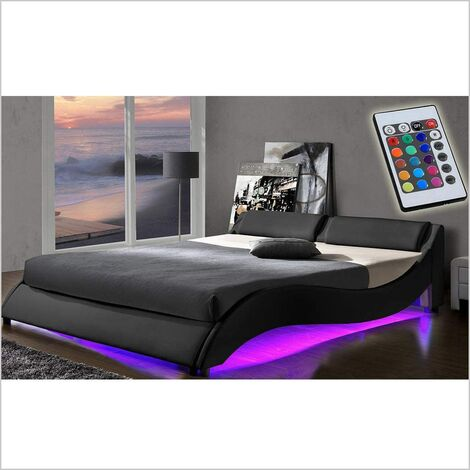CORVUS Black PU Leather Bed Frame with Underbed LED