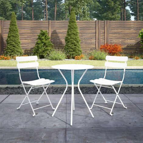 """main image of """"COSCO 3 Piece Bistro Set Outdoor Patio Garden Dining Table & Chairs White"""""""