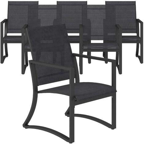 COSCO Outdoor Capitol Hill 6 Pack Patio Garden Dining Chairs Navy Blue