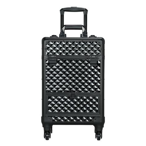 Cosmetic Case Professional Makeup Case Storage Travel Trolley on Wheels,Lockable Box with 1 Smooth Sliding Drawer Black
