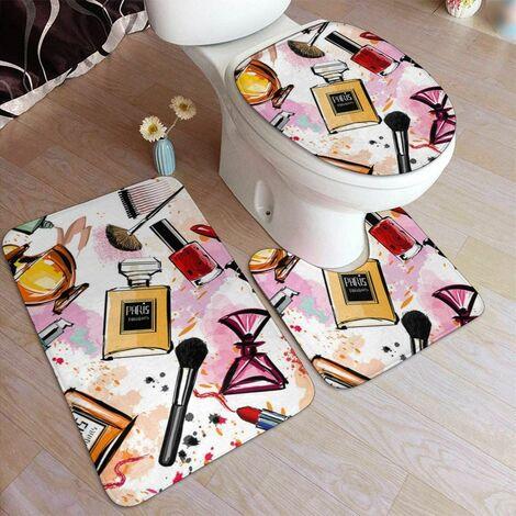 Cosmetic Doormat Makeup Pattern Perfume Lipstick Modern 3 Pieces Bathroom Mats Sets Soft Contour Mats Lid Lid Bath Mat Set Rugs