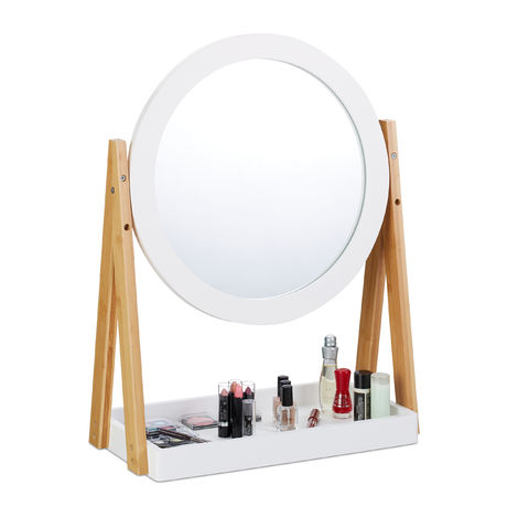 Cosmetic Makeup Mirror, Bamboo Vanity Mirror with Storage Tray