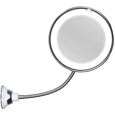 """main image of """"Cosmetic mirror with gooseneck, 10x magnification, LED-illuminated, with strong suction cup, rotatable 360 degrees, daylight, battery-operated, wireless and compact travel mirror"""""""