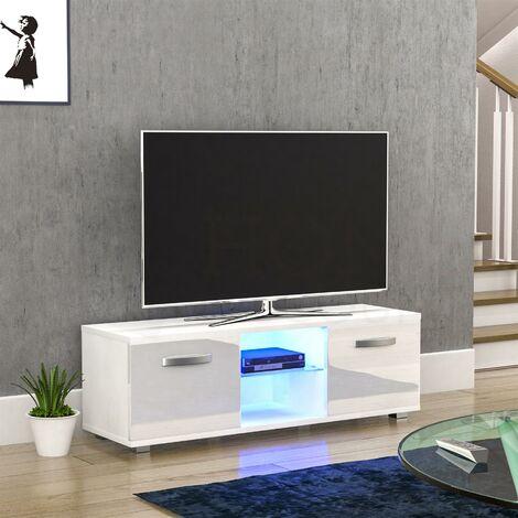 Cosmo 2 Door LED TV Unit, 120cm, White