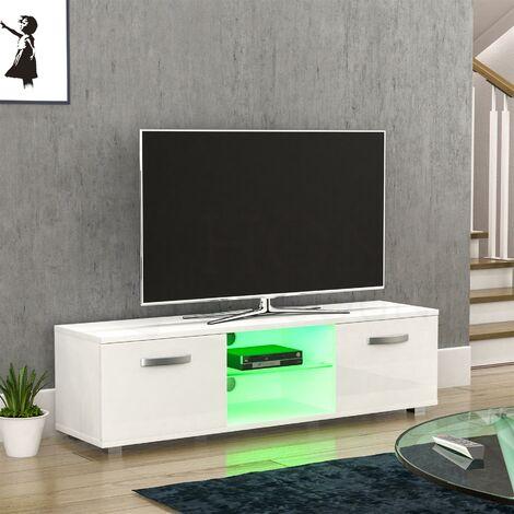 Cosmo 2 Door LED TV Unit, 140cm, White