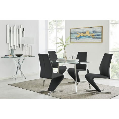 Cosmo Chrome Glass Dining Table And 4 Willow Dining Chairs Set