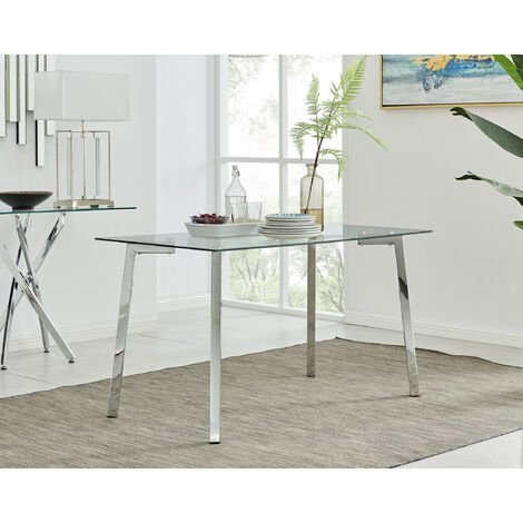 """main image of """"Cosmo Chrome Metal And Glass Dining Table"""""""