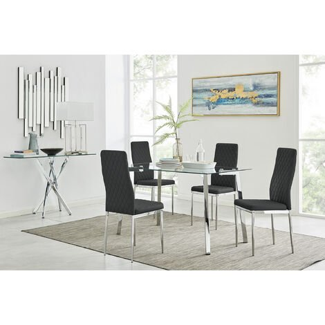 Cosmo Chrome Metal And Glass Dining Table And 4 Milan Dining Chairs Set