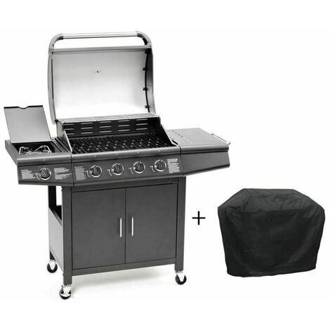 CosmoGrill 4+1 Pro Gas BBQ Barbecue Grill Inc. Side Burner- 93411 with cover
