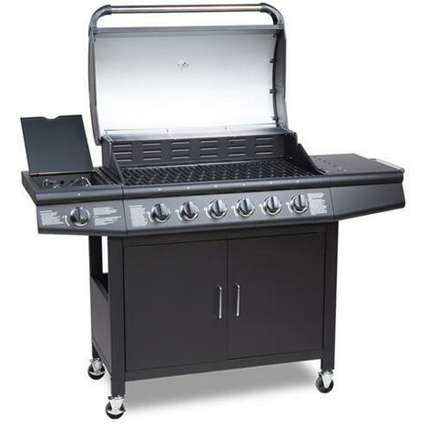 CosmoGrill 6+1 Deluxe Gas Burner Grill Barbecue Incl. Side Burner With Cover - Black