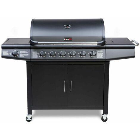 "main image of ""CosmoGrill 6+1 Pro Gas Burner Grill Barbecue Incl. Side Burner - Black 77 x 42 cm - Black"""