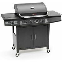CosmoGrill ™ 4+1 Gas Burner Grill BBQ Barbecue Incl. Side Burner - Black 61 x 43 cm