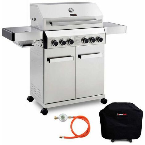 CosmoGrill Barbecue 4+2 Platinum Stainless Steel Gas Grill BBQ (Silver With Cover)