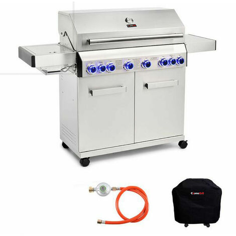 """main image of """"CosmoGrill Barbecue 6+2 Platinum Stainless Steel Gas Grill BBQ (Silver With Cover)"""""""